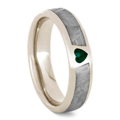 White Gold Ring with Heart Shaped Emerald and Meteorite-1701