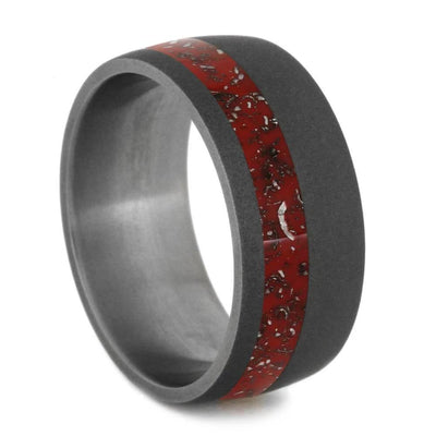 Wide Round Sandblasted Titanium Ring with Red Stardust