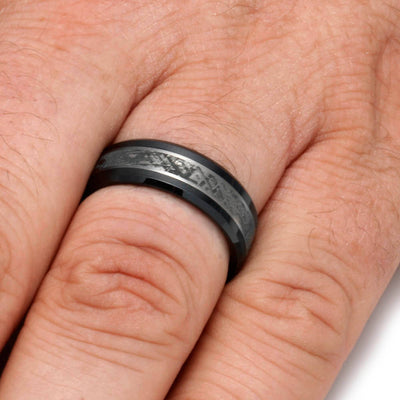 Black Ceramic Men's Wedding Band With Mimetic Meteorite-2116 - Jewelry by Johan