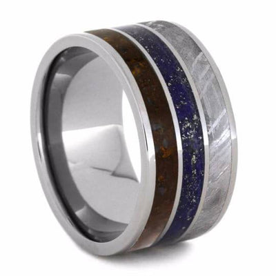 Lapis Wedding Ring with Fossil