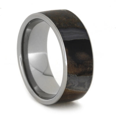 Titanium Ring With Multicolored Petrified Wood Inlay-1897 - Jewelry by Johan