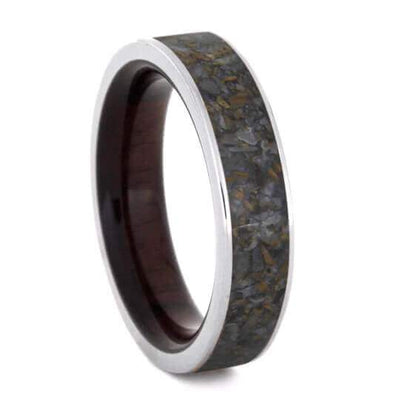 Dinosaur Bone Wedding Band With Macassar Ebony Wood Sleeve-2151 - Jewelry by Johan