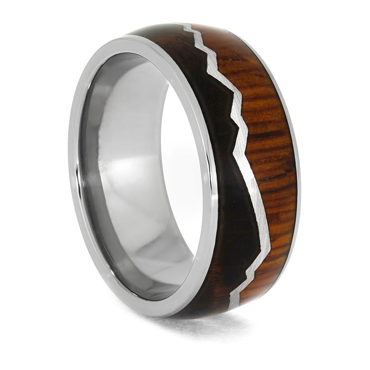 Titanium Mountain Ring with Dark Cherry Burl and Cocobolo Wood-3950 - Jewelry by Johan