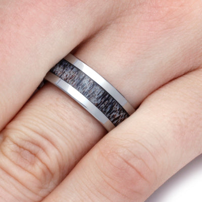 Deer Antler Ring In 8mm Tungsten Band, Ready To Ship-SIG3016 - Jewelry by Johan