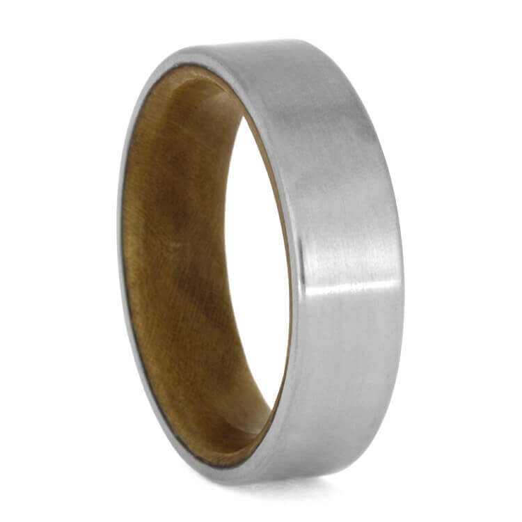 Matte Titanium Wedding Band With Sindora Wood Inside, Size 7.75-RS10151 - Jewelry by Johan
