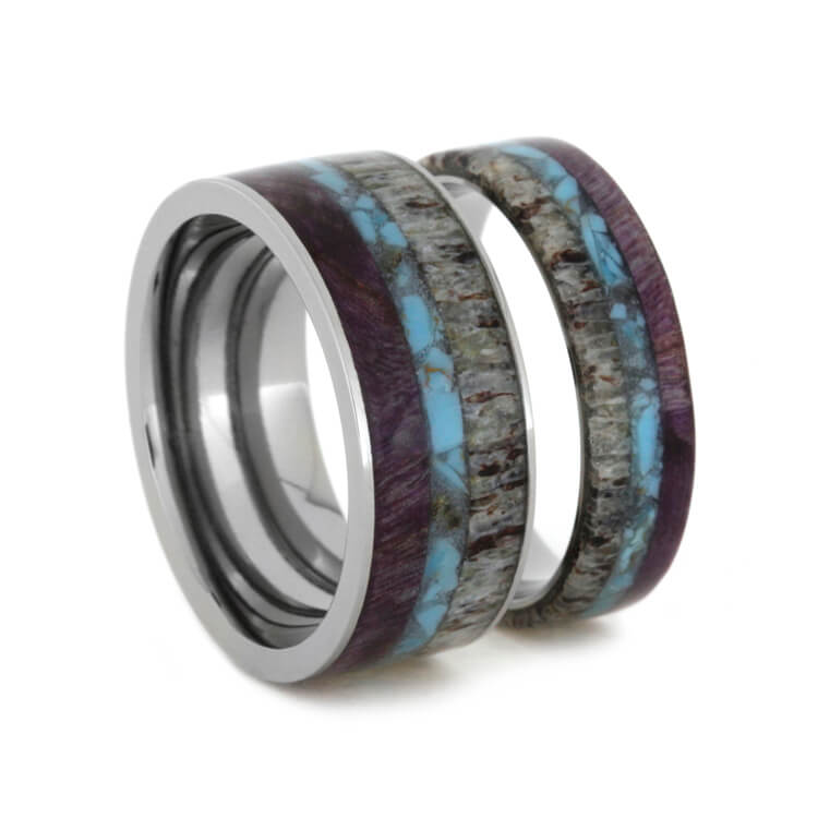 Turquoise, Antler and Purple Wood Wedding Band Set-2528 - Jewelry by Johan