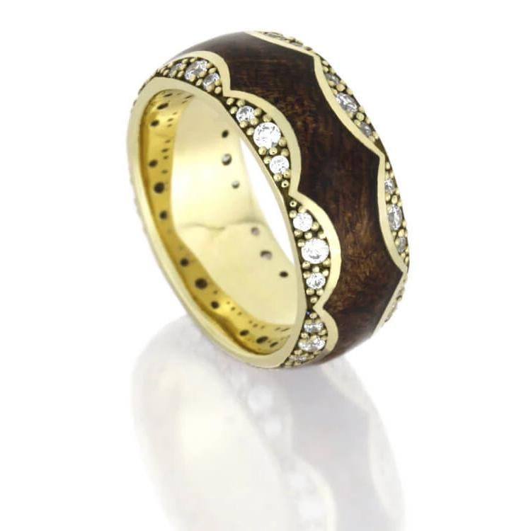 Unique Diamond Wedding Band, Yellow Gold Ring With Mesquite Burl Wood-DJ1009YG - Jewelry by Johan