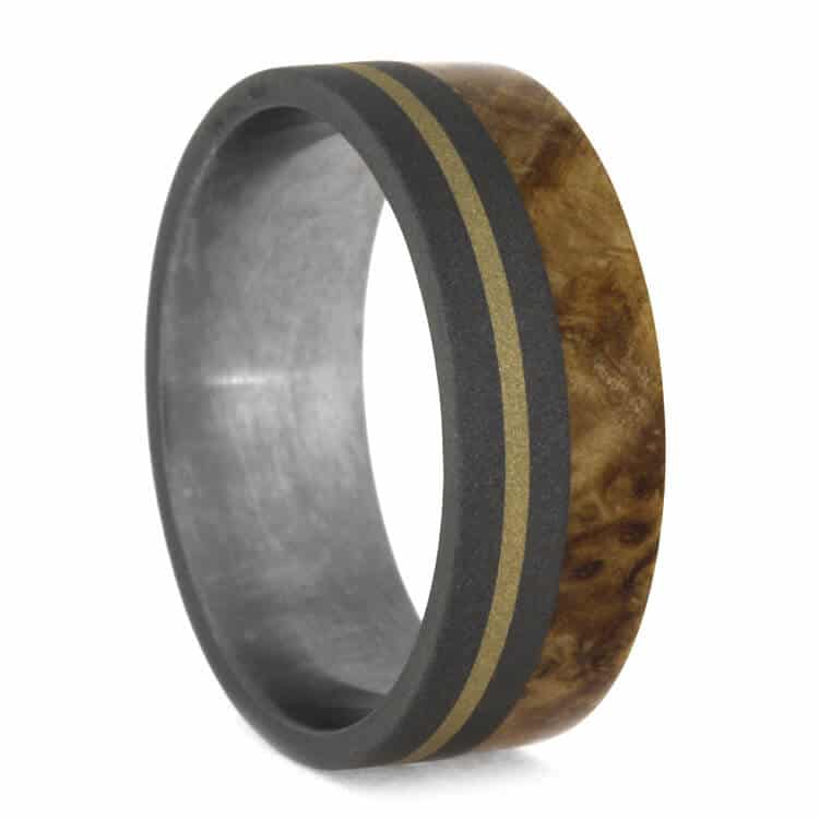 Black Ash Burl Ring With Titanium And Yellow Gold, Size 10.5-RS9981 - Jewelry by Johan