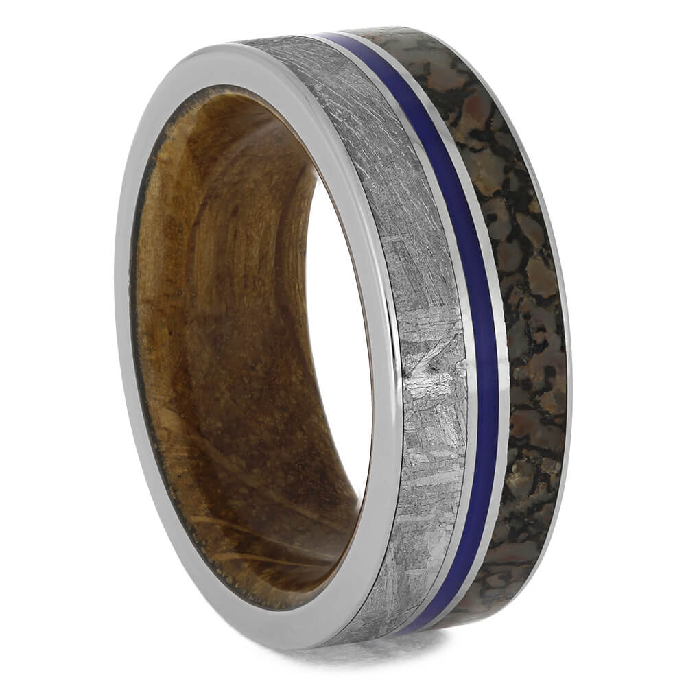 Titanium Men's Wedding Band with Whiskey Barrel Wood Sleeve-2208 - Jewelry by Johan