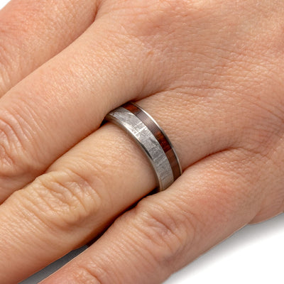Titanium Men's Wedding Band with Wood and Meteorite-2216 - Jewelry by Johan