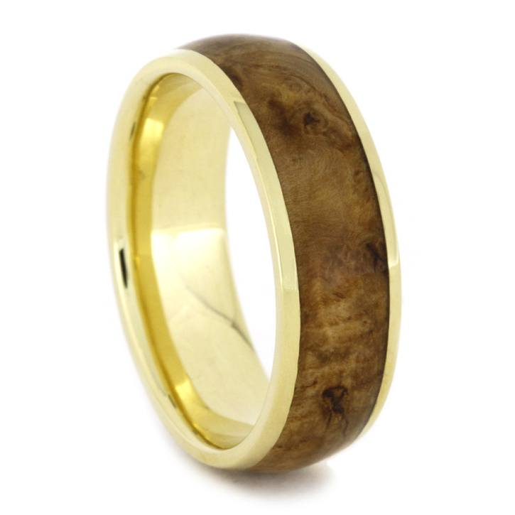 Yellow Gold Ring with Black Ash Burl Wood-1913 - Jewelry by Johan