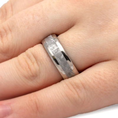 Meteorite Ring With Mokume Sleeve