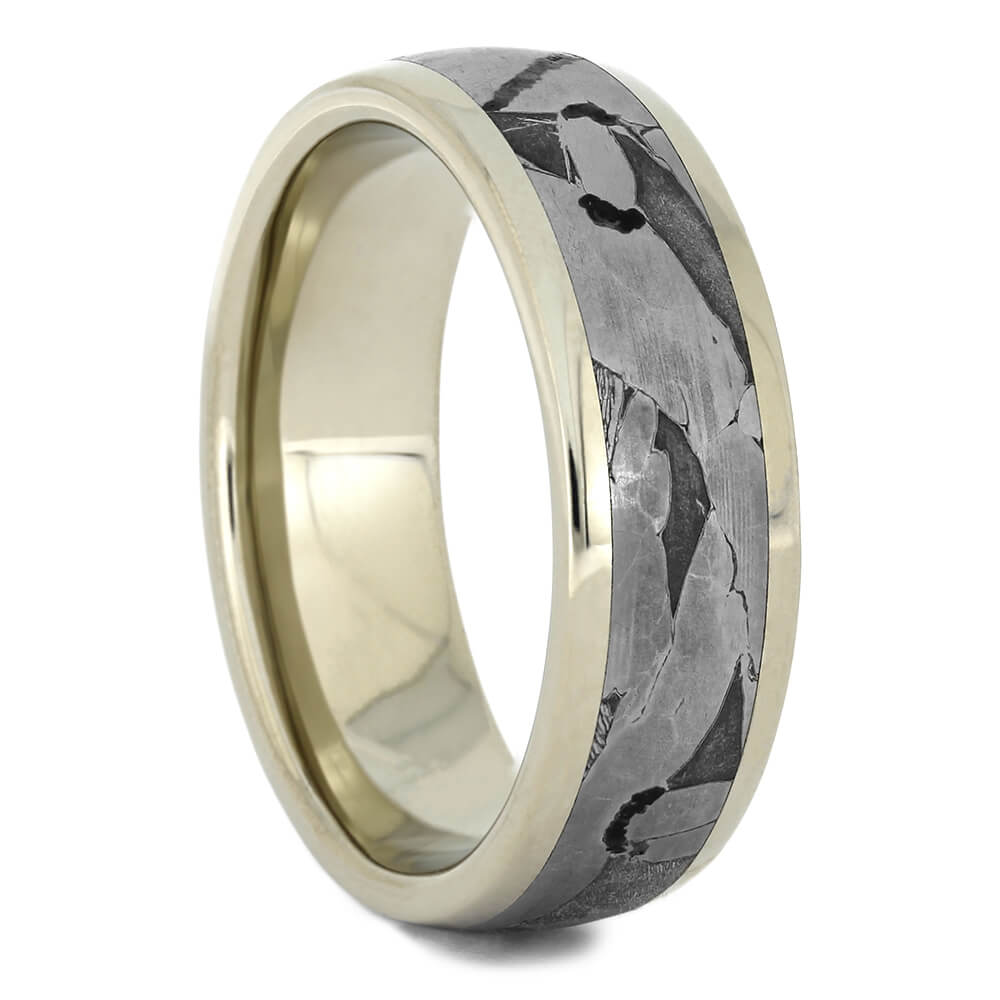 Seymchan Meteorite Men's Wedding Band in White Gold-2282 - Jewelry by Johan