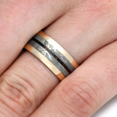 Yellow Gold Wedding Band with Meteorite and Mokume-2195 - Jewelry by Johan