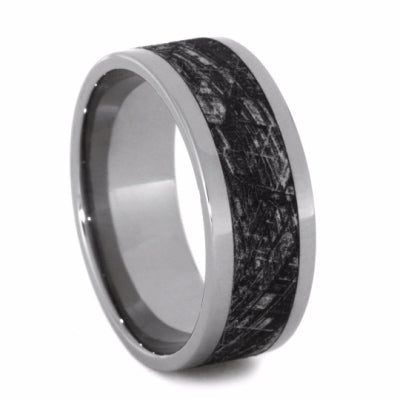 Titanium Ring With Mimetic Meteorite