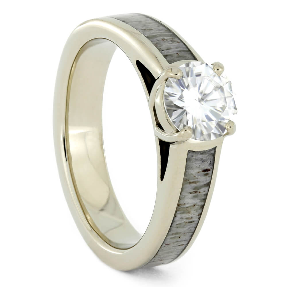White Gold Moissanite Engagement Ring With Deer Antler-2313 - Jewelry by Johan