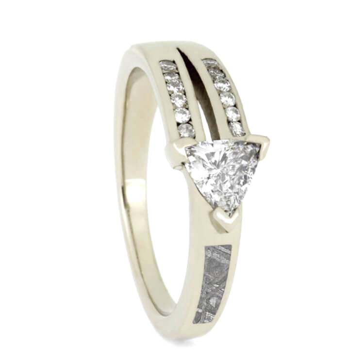 Triangle Cut Diamond Engagement Ring With Meteorite-2318 - Jewelry by Johan