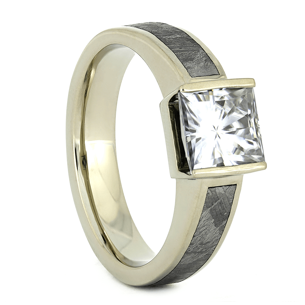 Moissanite Engagement Ring with Meteorite