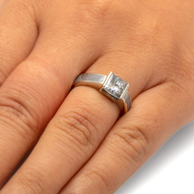 Meteorite Engagement Ring With Princess Cut Moissanite, White Gold-2339 - Jewelry by Johan