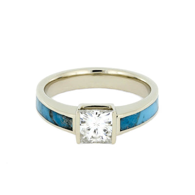 Turquoise Engagement Ring With Princess Cut Moissanite, White Gold-2340 - Jewelry by Johan