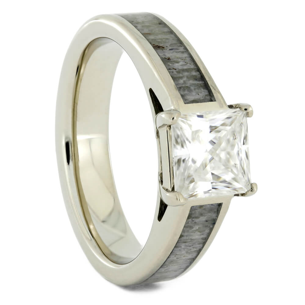 Square Stone Engagement Ring In White Gold With Deer Antler-2341 - Jewelry by Johan