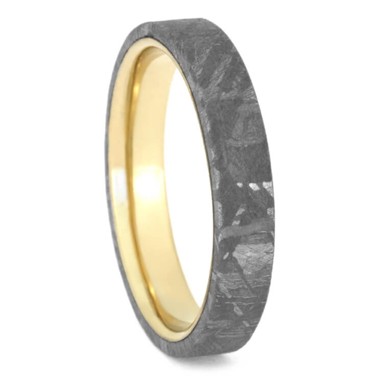 Thin Meteorite Unisex Wedding Band, Yellow Gold Ring-2442YG - Jewelry by Johan