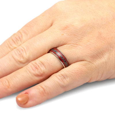 Crushed Onyx Wedding Band With Bloodwood In Titanium, Wooden Ring-2375 - Jewelry by Johan