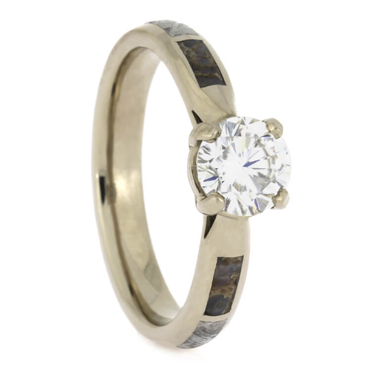 Engagement Ring With Meteorite And Moissanite In Palladium, Size 8.25-RS9686 - Jewelry by Johan