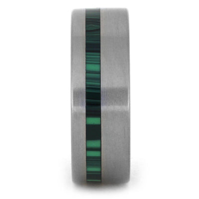 Malachite Ring with Inner Wood Sleeve and Titanium Band-3160 - Jewelry by Johan