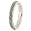 Thin Gibeon Meteorite Wedding Ring In White Gold Band-2384 - Jewelry by Johan