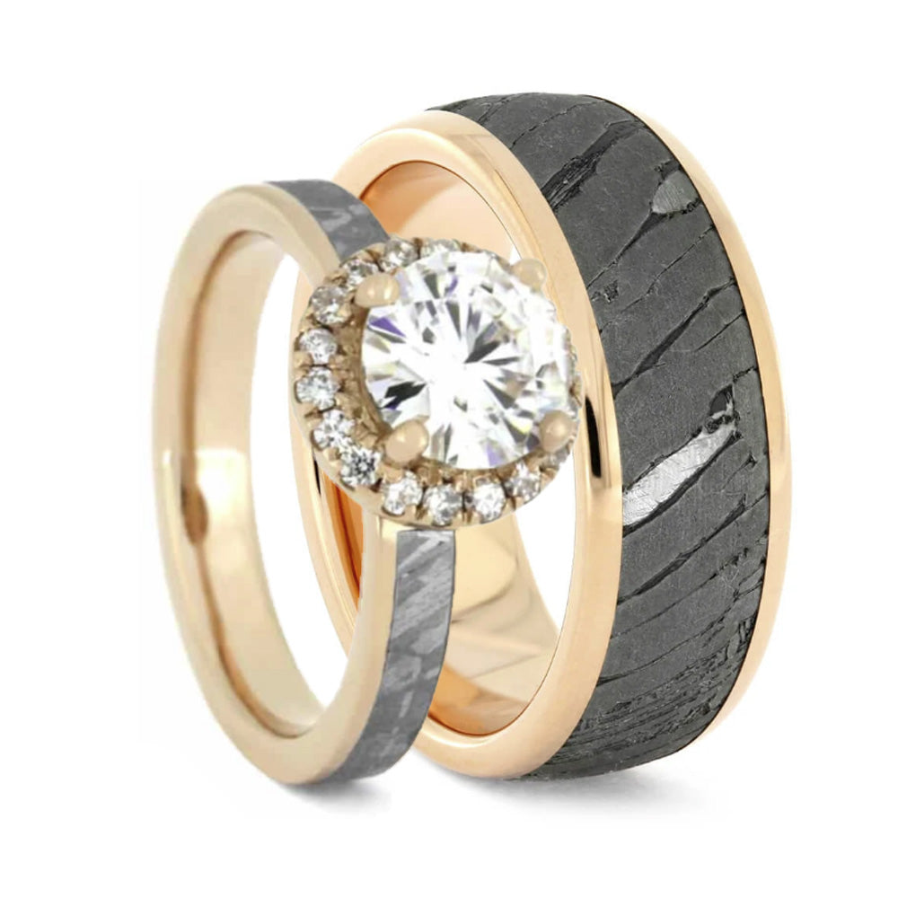 Meteorite Rose Gold Wedding Ring Set With Halo Engagement Ring-2389 - Jewelry by Johan