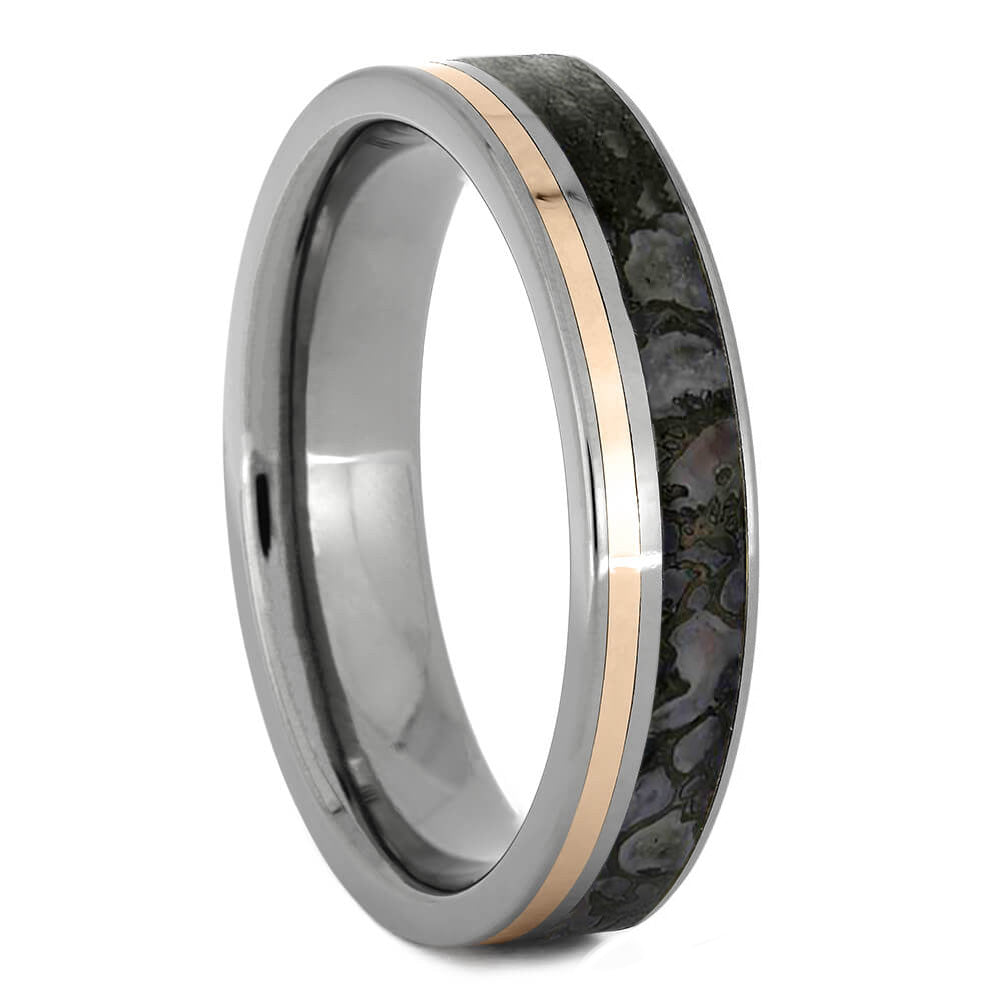 Fossil Men's Wedding Band With Gold Pinstripe - Jewelry by Johan