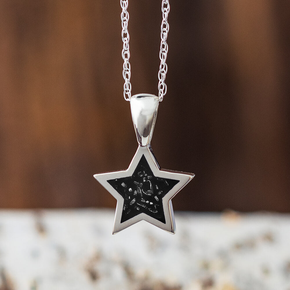 Black Stardust™ Star Shape Necklace in Sterling Silver-2425-BK - Jewelry by Johan