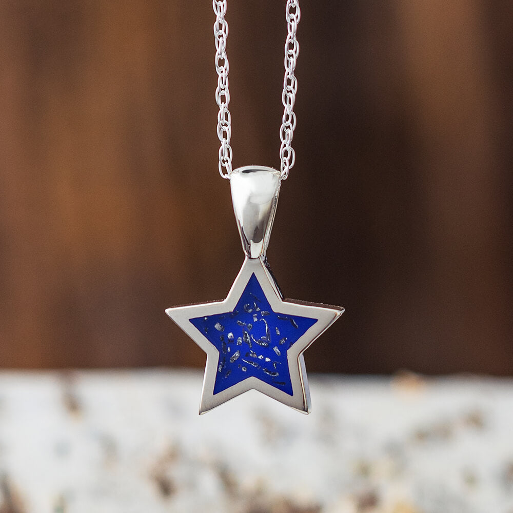 Blue Stardust™ Pendant Necklace in Sterling Silver-2425-BL - Jewelry by Johan