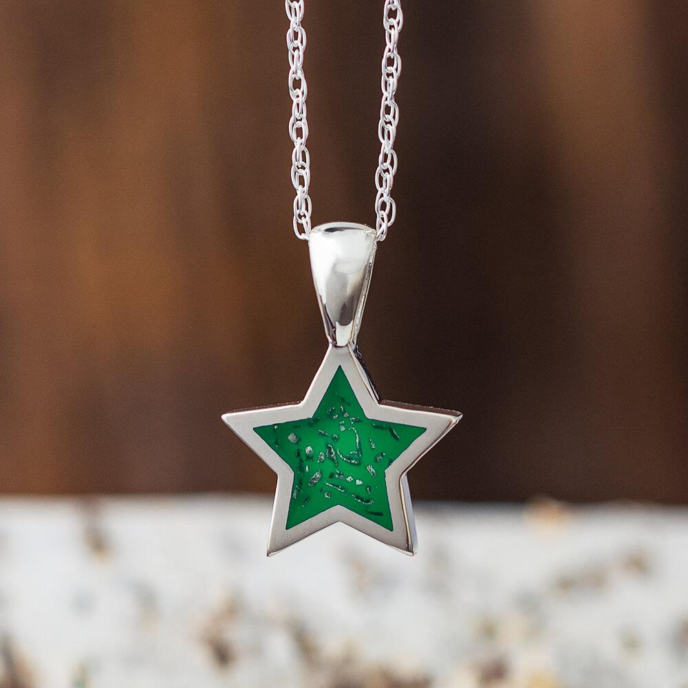 Green Stardust™ Sterling Silver Star Pendant Necklace-2425-GR - Jewelry by Johan