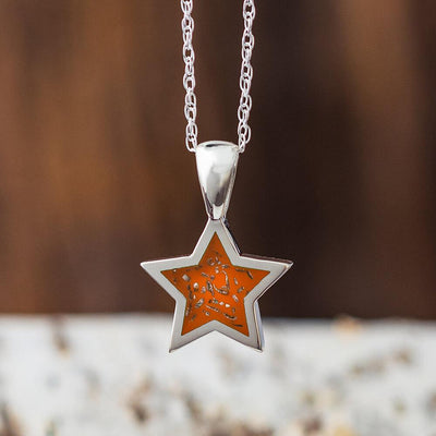 Orange Stardust™ Star Necklace in Sterling Silver-2425-OR - Jewelry by Johan