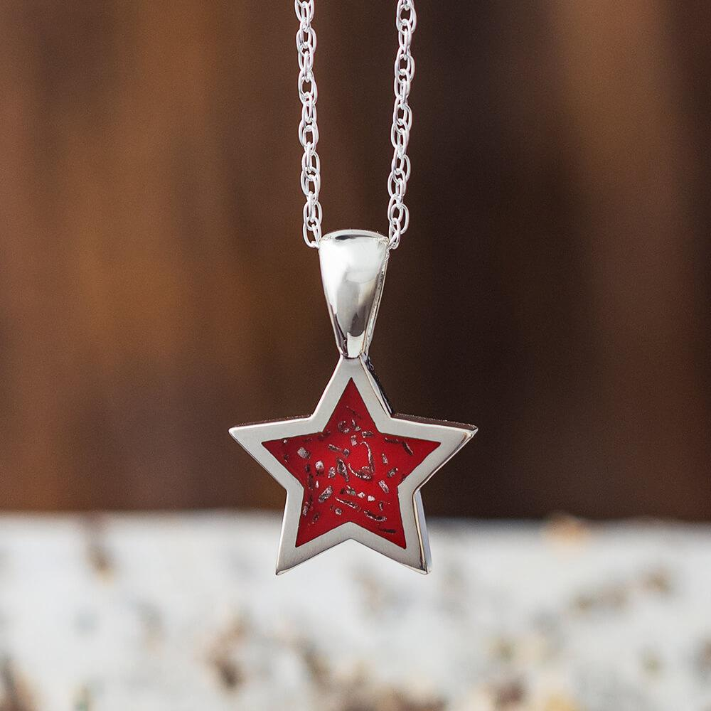 Sterling Silver Star Shaped Pendant Necklace With Red Stardust™-2425-RD - Jewelry by Johan
