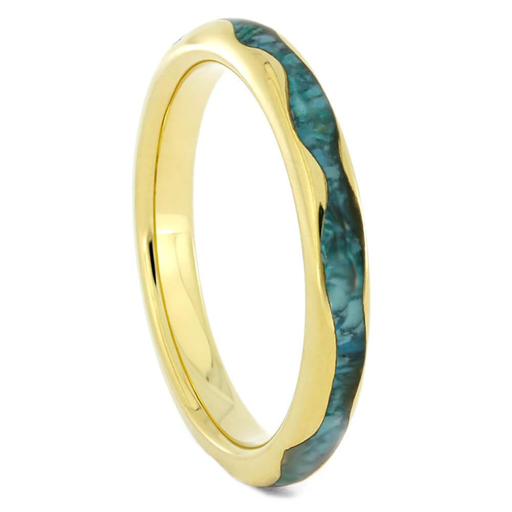 Wavy Gold Ring With Crushed Turquoise Inlay - Jewelry by Johan