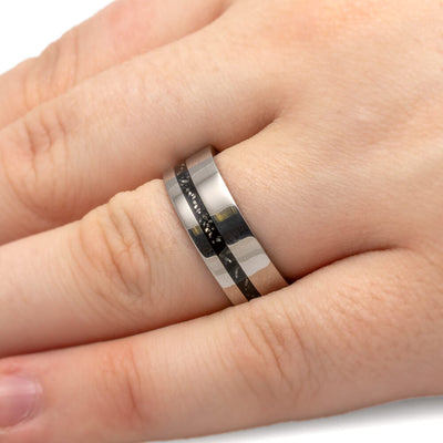 Polished Titanium Wedding Band With Offset Black Stardust™ Pinstripe-2446 - Jewelry by Johan
