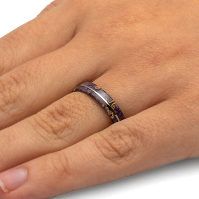 Purple Wood Wedding Band, Thin Box Elder Burl Ring With Titanium Pinstripe-2448 - Jewelry by Johan
