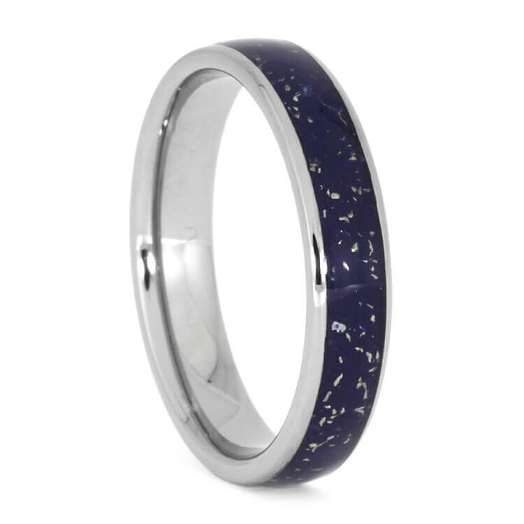 Thin Blue Stardust™ Meteorite Wedding Band, Size 6.75-RS10178 - Jewelry by Johan