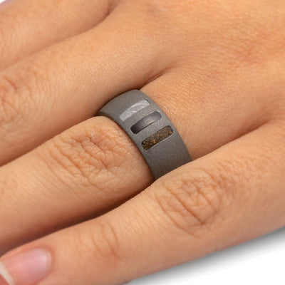 Sandblasted Titanium Ring With Meteorite, Dino Bone, And Blackwood-2455 - Jewelry by Johan
