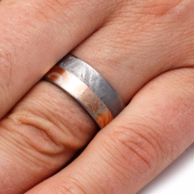 Silver and Copper Mokume Gane Ring with Meteorite Inlay-2104 - Jewelry by Johan
