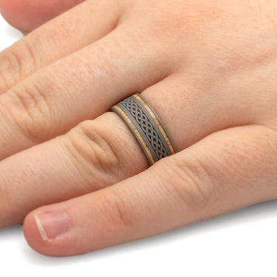 Oak Wood Ring Engraved With Celtic Knot Design, Titanium Wedding Band-2464 - Jewelry by Johan