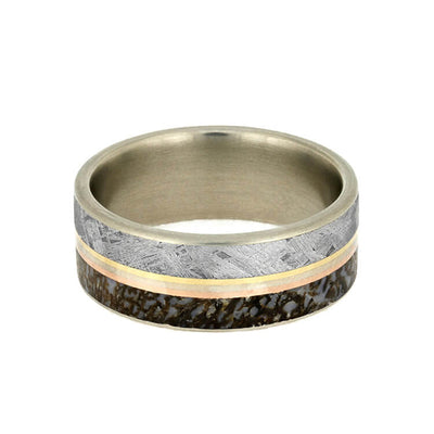 White Gold Men's Wedding Band With Meteorite, Dinosaur Bone Ring With Gold Pinstripe Trio-2764 - Jewelry by Johan