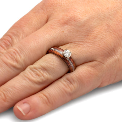 14k White Gold Diamond Engagement Ring With Honduran Rosewood-2483 - Jewelry by Johan