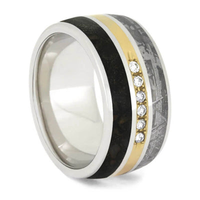 Men's Platinum Band With Meteorite and Dinosaur Bone Ring And Diamonds-2487 - Jewelry by Johan