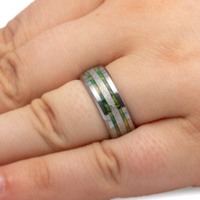 Tungsten Meteorite Wedding Band With Green Box Elder-2490 - Jewelry by Johan