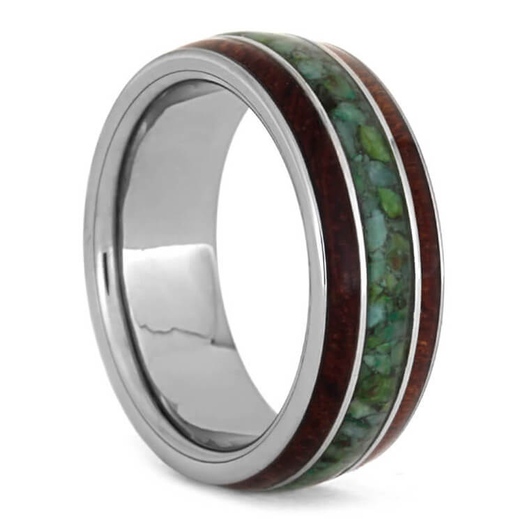 Chrysocolla Ring With Bubinga Wood Inlays, Tungsten Wedding Band-3589