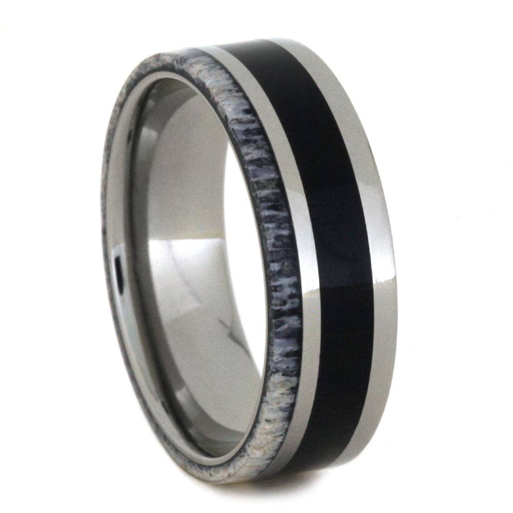 Titanium Pinstriped Ring with Ebony Wood And Deer Antler-2863 - Jewelry by Johan